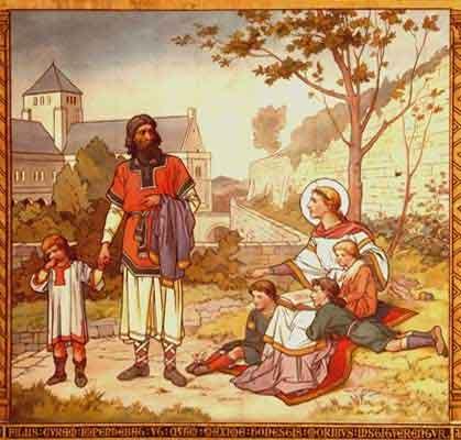 St Margaret of Scotland and her children.