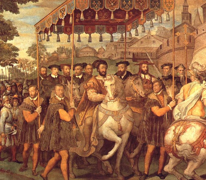 The Solemn Entrance of Emperor Charles V, Francis I of France, and of Alessandro Cardinal Farnese into Paris in 1540.