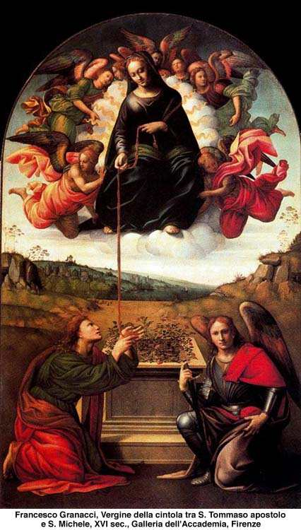 St. Thomas receiving the Our Lady's girdle before Her Assumption into heaven.
