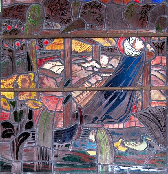 Stained glass window of Saint Frideswide hides from King Algar amongst swines.