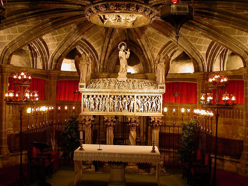 The tomb of St. Eulàlia in Barcelona Cathedral. Photo by  Xavier Caballé.