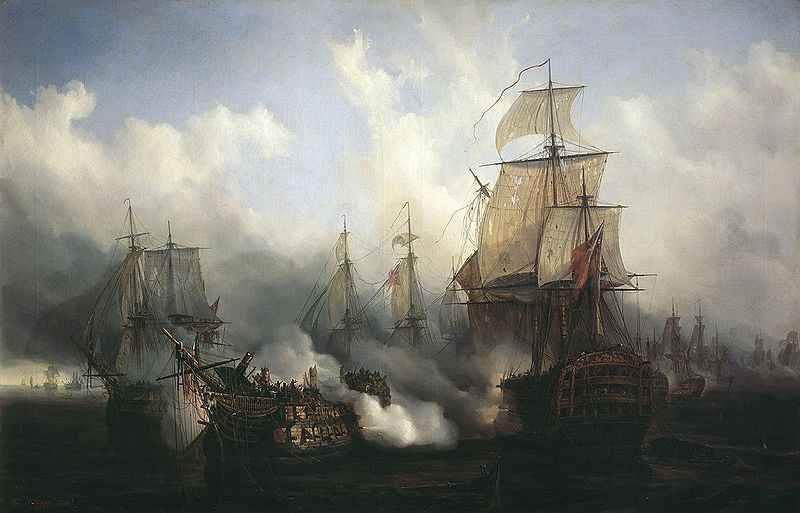 The Battle of Trafalgar. Painting by Auguste Mayer.