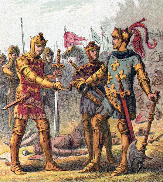 Edward, the Black Prince, accepts the surrender of John II of France at the Battle of Poitiers.