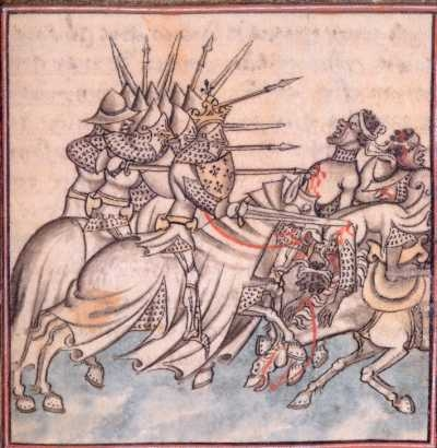 Knights charge Muslims, from The Chronicles of France and St-Denis, fifteenth century.