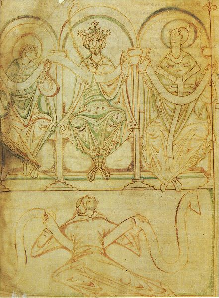 King Edgar seated between St. Æthelwold, Bishop of Winchester, and St. Dunstan, Archbishop of Canterbury. From an eleventh-century manuscript of the Regularis Concordia.
