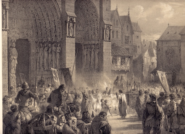 King St. Louis IX, carrying the Crown of Thorns from the Holy Land, and bears it in procession to Notre Dame, Paris, August 18, 1239.