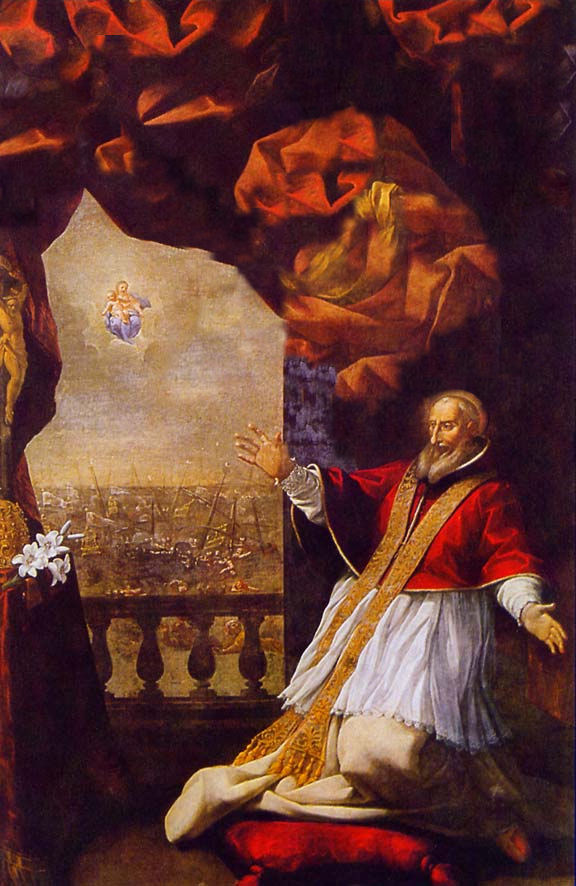 Vision of the Victory of the Battle of Lepanto. Painting by Lazzaro Baldi 1673, located in Ghislieri College of Pavia, where St. Pope Pius V taught theology, altered by nobility.org.