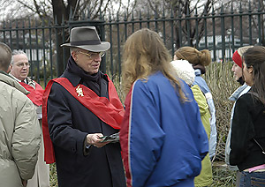 Prince Bertrand of Orleans-Braganza handing out flyers