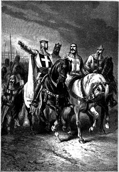 Godfrey of Bouillon depicted with Bohemond, Raymond IV of Toulouse, and other Crusaders.