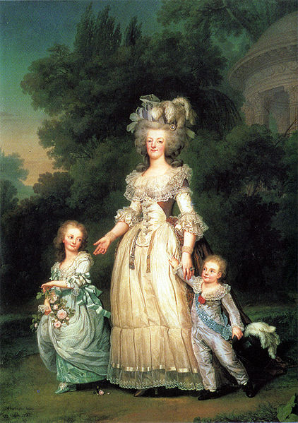 Queen Marie Antoinette of France with her children Princess Marie Therese Charlotte of France and Dauphin Louis Joseph of France