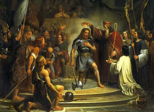 The baptism of Clovis in Reims in 496. Painting by François-Louis Dejuinne .