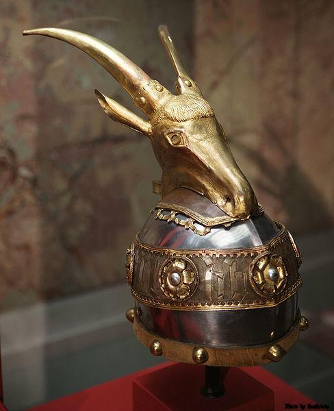 The helmet of Gjergj Kastrioti Skanderbeg, c. 1460. Bought for Skanderbeg by Archduke Ferdinand II.
