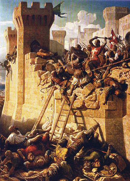 The Hospitaller grand master Guillaume de Clermont defending the walls at the Siege of Acre in 1291, by Dominique-Louis Papéty.