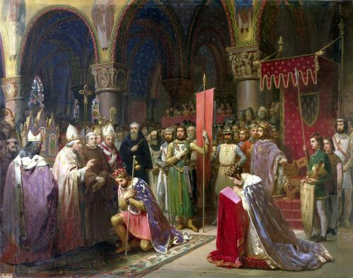 Louis VII receiving the oriflamme by Jean-Baptiste Mauzaisse