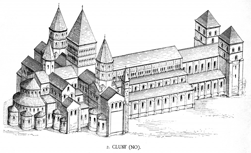Until the construction of St. Peter's Basilica in the Renaissance, the Abbey Church of Cluny was the largest church in Christendom. It was destroyed during the French Revolution