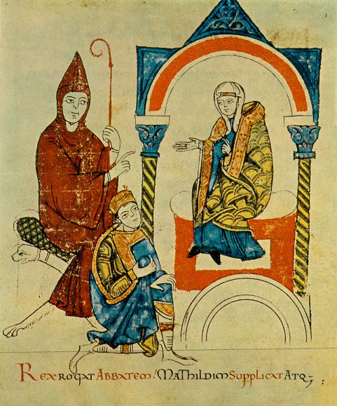 St. Hugh the Great played a crucile part in the historic clash between Pope St. Gregory VII and the Emperor Henry IV. In this medieval illustration, St. Hugh and Countess Matilda of Tuscany meet with Henry IV