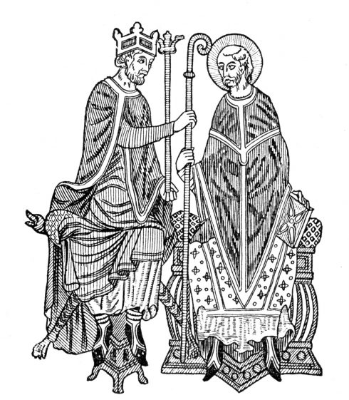 Simony was widespread and was one of the evils being addressed by the Church in the Investiture Question. In this woodcut, a king invests a bishop with the crozier and other insignia of his episcopal office, usurping the Pope's sole right to do this.
