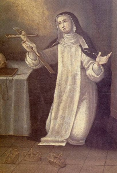 Blessed Joanna of Portugal with the three crowns she refused at her feet