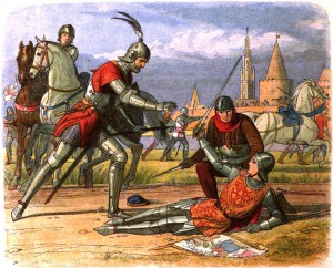 http://commons.wikimedia.org/wiki/File:A_Chronicle_of_England_-_Page_386_-_Capture_of_the_Maid_at_Compiegne.jpg