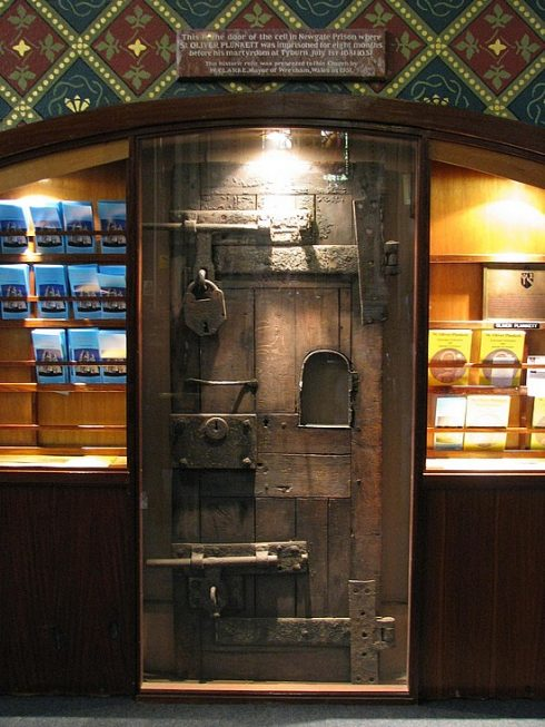 The prison door of St. Oliver Plunkett from Dublin Castle, located at the Shrine of St. Oliver in Ireland. photo by emmafox