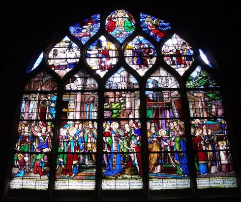 1866 stained-glass with scenes from the life of St. Clotilda
