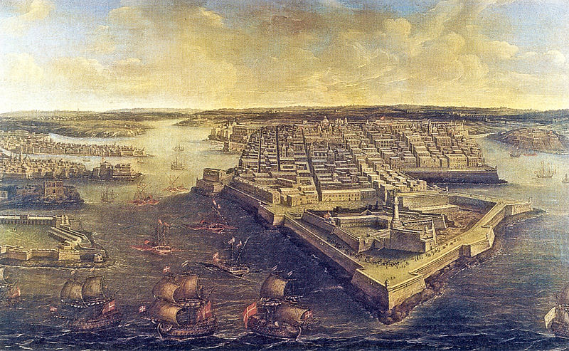 The Grand Harbour of Malta, View of Valletta and Fort St Elmo in 1801