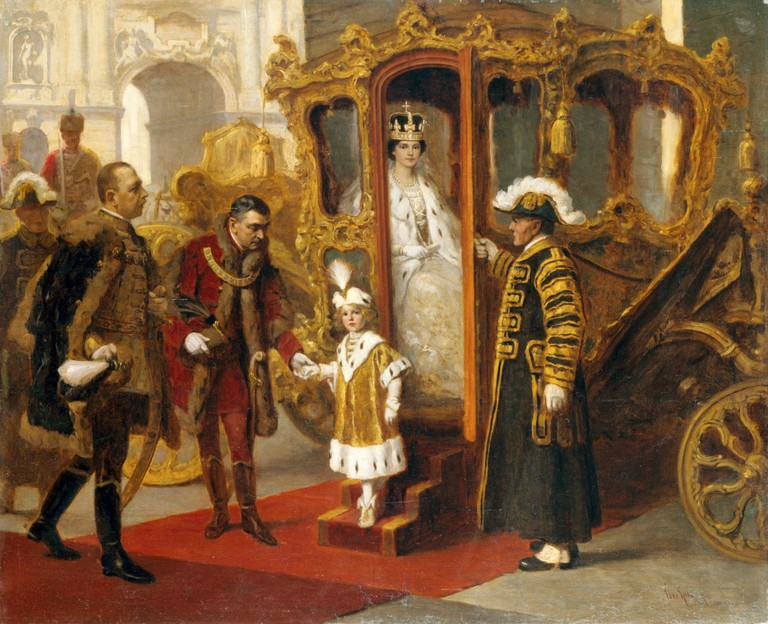 Empress Zita and her son Crown Prince Otto during the former's coronation as Queen of Hungary in 1916. Painting by Gyula Éder (1875-1935)