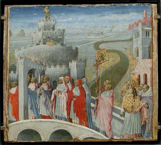 http://commons.wikimedia.org/wiki/File:Giovanni_di_Paolo_La_Procession_de_saint_Gregoire_au_chateau_saint_Ange.jpg