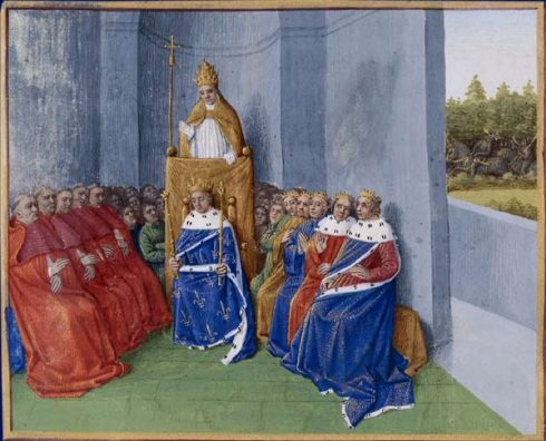 Pope Urban II preaching the First Crusade in the presence of Philip I, before the assembled bishops and princes.