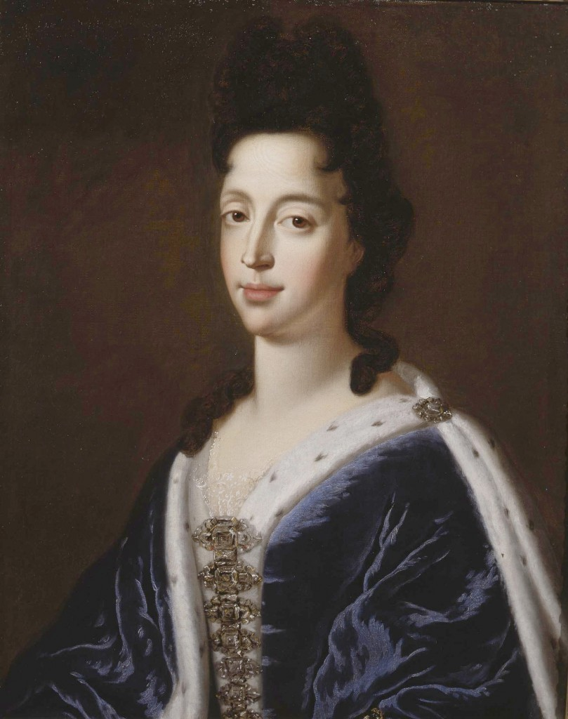Mary of Modena in her court dress in 1680, painted by Sir Godfrey Kneller.