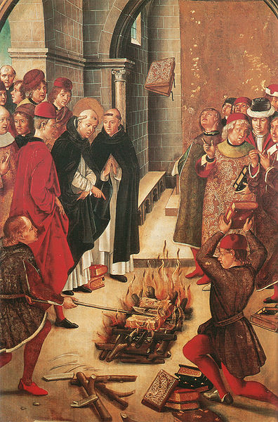 Spanish painting from the 1400s by Pedro Berruguete showing the miracle of Fanjeaux. The books of the heretical Albigensian and those of the Catholics were thrown together into the fire before Saint Dominic. The Catholic books were miraculously preserved, being rejected three times by the flames, while the heretical ones burned.