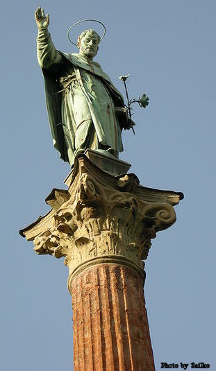 Statue of St. Dominic's Blessing (1623) in front of the Basilica of Saint Dominic, Bologna, Italy.