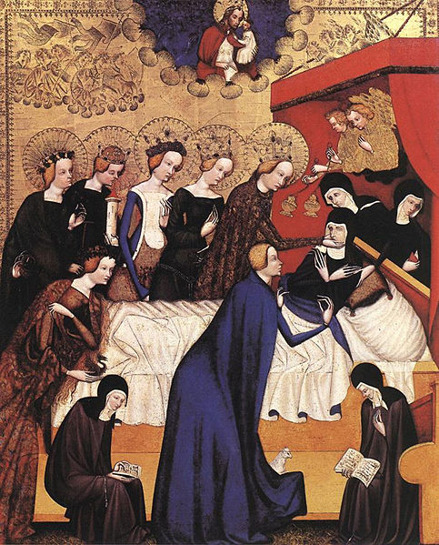 The Death of St. Clare painted by Master of Heiligenkreuz, located at the National Gallery of Art, Washington.