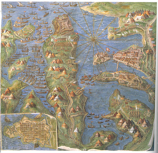 Map of the battle of the siege of Malta painted by Egnazio Danti.