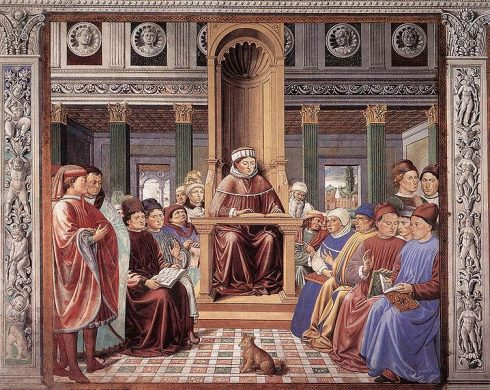 St Augustine Teaching in Rome (scene 6, south wall) 1464-65 Fresco