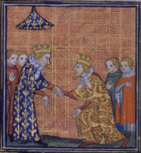 Treaty of Paris. King Henry III of England does homage to Saint Louis.