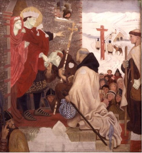 St Aidan kissing the hand of St Oswald Painting by Ford Madox Brown, 1864.