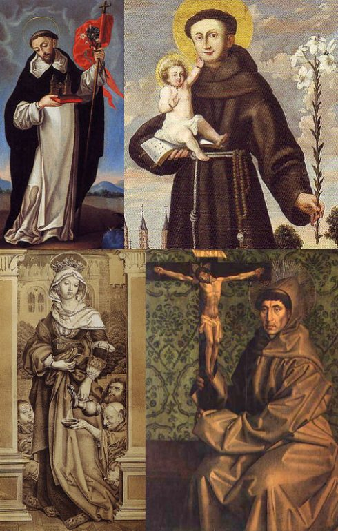 Pope Gregory IX cannonized St. Dominic de Guzmán, St. Anthony of Padua, St. Elizabeth of Hungary, and St. Francis of Assisi.