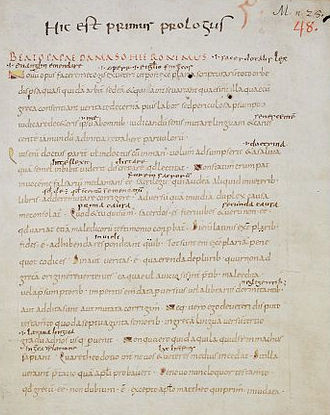 Folio 3 recto, the beginning of Epistle of St. Jerome to Pope Damasus I