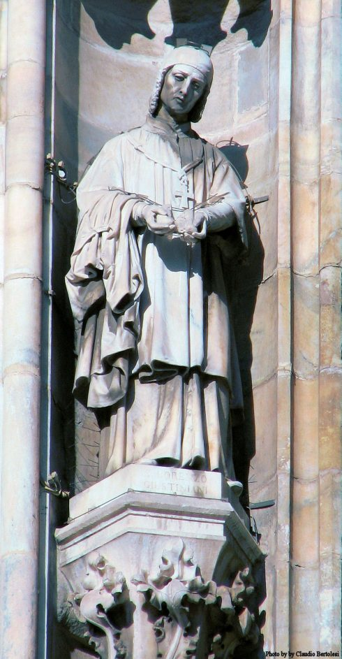 Statue of St. Lawrence on the South side of the Milan Cathedral.