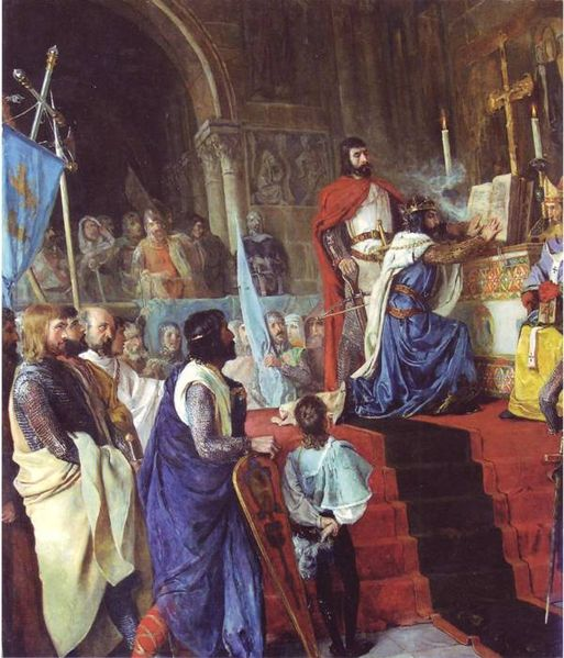 El Cid forcing King Alfonso VI of León to swear in the Church of Santa Gadea de Burgos.  Painting by Armando Menocal in 1889.