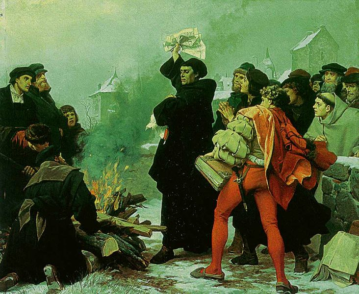 Martin Luther burns Pope Leo X's Papal Bull, Exsurge Domine, which threatened him with excommunication unless he recanted within a sixty day period. Luther refused to recant and responded instead by composing polemical tracts lashing out at the papacy and by publicly burning a copy of the bull on December 10, 1520.