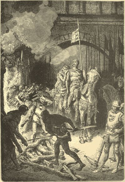 An engraving by Alphonse-Marie-Adolphe de Neuville of El Cid ordering the execution of Ahmed, King of Valencia.