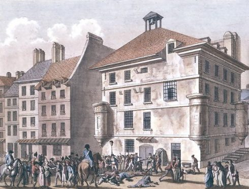The Massacre at the Abbaye Prison near St. Germain des Pres, engraved by Reinier Vinkeles and Daniel Vrydag