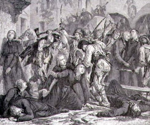 The Massacre of the Priests in September 1792 by H. de la Charlerie