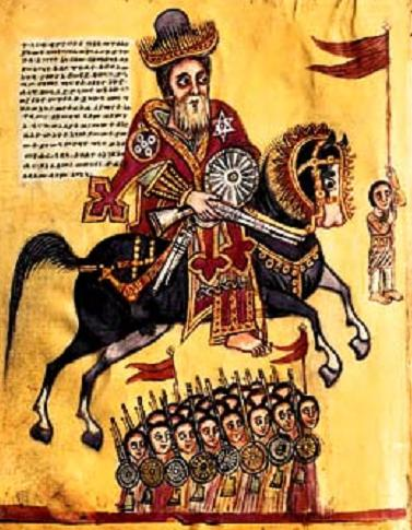 St. Elesbaan, King of Ethiopia, at the command of the Emperor Justin, lead an army against Dunaan.