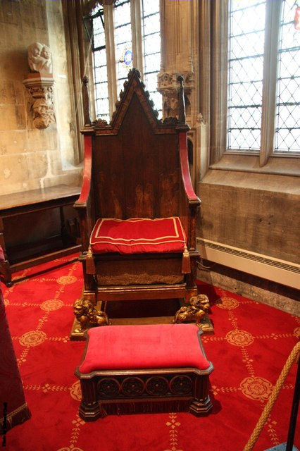 The Coronation Chair, sometimes known as St Edward's Chair, was named after St. Edward the Confessor, and was kept in his shrine of St Edward's Chapel at Westminster Abbey. Under the seat contains the Stone of Scone, sometimes called Jacob's Pillow Stone.