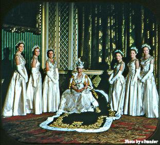 Queen Elizabeth II and her ladies in waiting