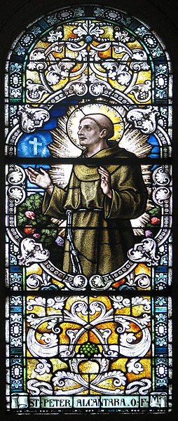 A Stainglass window of St. Peter in Washington, DC at the Franciscan Monastery of the Holy Land.