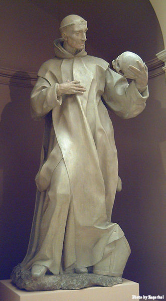Statue of Saint Bruno meditating on death. The statue is at the Royal Academy of Fine Arts of San Fernando in Madrid.